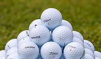 Titleist Golf ball ready for practice shots during the GOLFSIXES ProAm  at Centurion Club, St Albans, England on 5 May 2017. Photo by Andy Rowland.