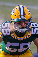 Green Bay Packers linebacker Jordan Tripp (58) prior to a game against the New York Giants on January 8th, 2017 at Lambeau Field in Green Bay, Wisconsin.  Green Bay defeated New York 38-13. (Brad Krause/Krause Sports Photography)