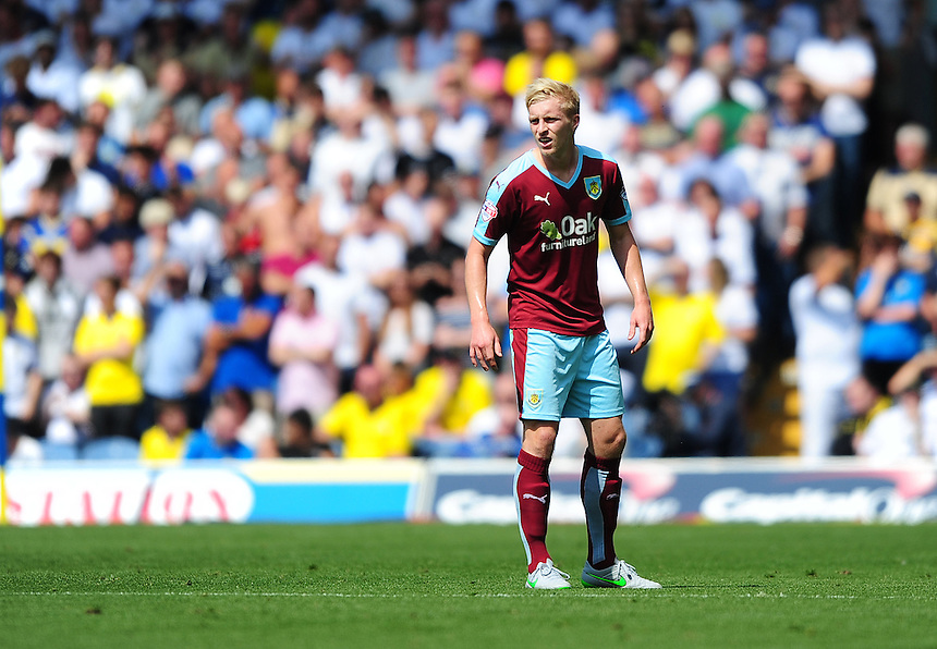 Burnley's Ben Mee<br /> <br /> Photographer Chris Vaughan/CameraSport<br /> <br /> Football - The Football League Sky Bet Championship - Leeds United  v Burnley - Saturday 8th August 2015 - Elland Road - Beeston - Leeds<br /> <br /> &copy; CameraSport - 43 Linden Ave. Countesthorpe. Leicester. England. LE8 5PG - Tel: +44 (0) 116 277 4147 - admin@camerasport.com - www.camerasport.com