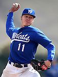 Western Nevada College's Conor Harber pitches against the College of Southern Nevada during a college baseball game at John L. Harvey field, on Sunday, April 27, 2014, in Carson City, Nev.<br /> Photo by Cathleen Allison/Nevada Photo Source