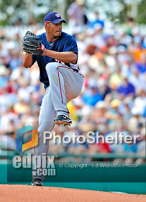 12 March 2009: Washington Nationals' pitcher Daniel Cabrera on the mound during a Spring Training game against the Atlanta Braves at Disney's Wide World of Sports in Orlando, Florida. The Braves defeated the Nationals 6-2 in the Grapefruit League matchup. Mandatory Photo Credit: Ed Wolfstein Photo