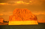 AZ, Arizona Lake Powell, near Grand Canyon National Park, scenic, Lone Rock on Utah border, sunset  .Photo Copyright: Lee Foster, lee@fostertravel.com, www.fostertravel.com, (510) 549-2202.Image: azlkpo208
