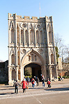 Abbey Gate fourteenth century Norman gatehouse, Bury St Edmunds, Suffolk, England, UK