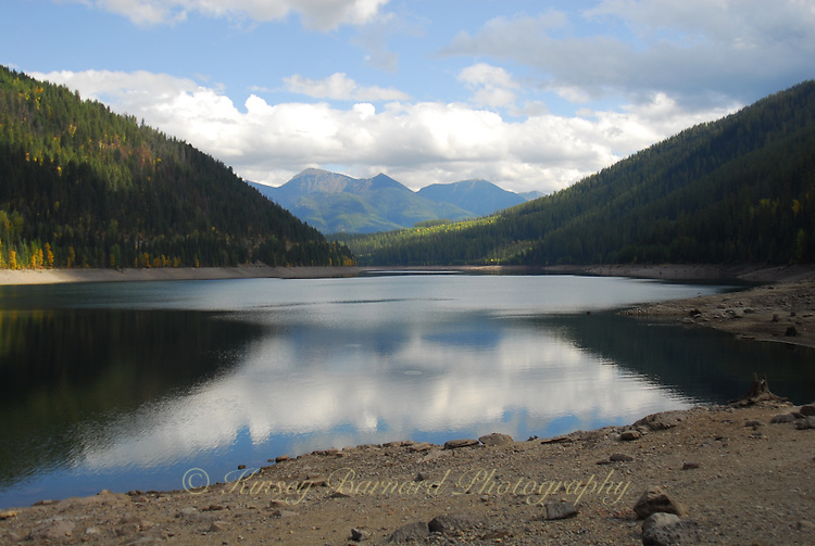 Hungry Horse Reservoir with the Flathead Range in the Great Bear Wilderness in the background.