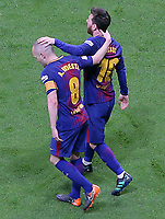 FC Barcelona's Andres Iniesta and Leo Messi celebrate goal during Spanish King's Cup Final match. April 21,2018. (ALTERPHOTOS/Acero)