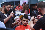Barber cuts hair for the Barber Competition during the 2013 International Beauty Show at the Javits Convention Center in New York City on April 15, 2013.