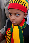 Israel, Jerusalem Old City, Ethiopian boy at the Good Friday procession at the Via Dolorosa.  Easter 2005<br />