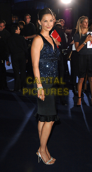 ASHLEY JUDD.Attending the Emporio Armani fashion show, Earls Court, London, UK..September 21st, 2006 .Ref: BEL.full length blue sequin top bracelet diamond jewel encrusted black skirt.www.capitalpictures.com.sales@capitalpictures.com.©Tom Belcher/Capital Pictures.