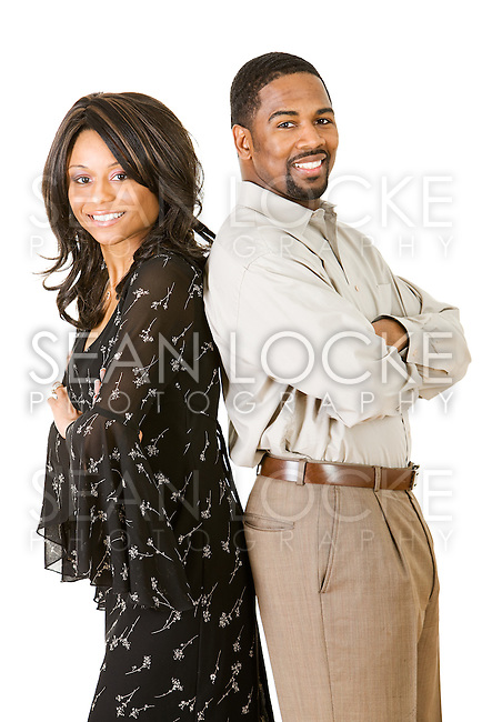 Extensive series with a young African-American couple in various poses, holding props like candy and flowers.  Isolated on white background.