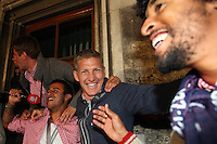 10.05.2014, Marienplatz, Muenchen, GER, 1. FBL, FC Bayern Muenchen Meisterfeier, im Bild (L-R) Thiago Alcantara of Bayern Muenchen and his team mates Bastian Schweinstieger and Dant Thiago Alcantara, Bastian Schweinstieger, Dante, // during official Championsparty of Bayern Munich at the Marienplatz in Muenchen, Germany on 2014/05/11. EXPA Pictures © 2014, PhotoCredit: EXPA/ Eibner-Pressefoto/ EIBNER<br /> <br /> *****ATTENTION - OUT of GER***** <br /> Football Calcio 2013/2014<br /> Bundesliga 2013/2014 Bayern Campione Festeggiamenti <br /> Foto Expa / Insidefoto