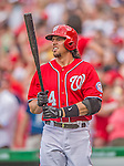 9 June 2013: Washington Nationals first baseman Chris Marrero in action against the Minnesota Twins at Nationals Park in Washington, DC. The Nationals shut out the Twins 7-0 in the first game of their day/night double-header. Mandatory Credit: Ed Wolfstein Photo *** RAW (NEF) Image File Available ***