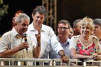 ATENÇÃO EDITOR: FOTO EMBARGADA PARA VEÍCULOS INTERNACIONAIS - SAO PAULO, SP, 15 SETEMBRO DE 2012 – ELEIÇÕES 2012 - COMICIO HADDAD, LULA E MARTA SUPLICY - O candidato a prefeitura de São Paulo Fernando Haddad juntamente com o ex presidente Lula e a Ministra Marta Suplicy realizaram um comício no bairro do Capão Redondo, zona sul de São Paulo. (FOTO: LEVI BIANCO / BRAZIL PHOTO PRESS).