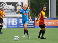 20191005  -  Diksmuide , BELGIUM :  Famkes Celine Leeman pictured with Mechelen's Laura Baetens (r) during a footballgame between the womensoccer teams from Famkes Westhoek Diksmuide Merkem and KV Mechelen Ladies A , on the 5th matchday in the first division , 1e nationale , in Diksmuide - Belgium - saturday 5th october 2019 . PHOTO DAVID CATRY   Sportpix.be