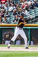 Quintin Berry (19) of the Salt Lake Bees at bat against the Sacramento River Cats in Pacific Coast League action at Smith's Ballpark on May 01, 2016 in Salt Lake City, Utah. Sacramento defeated Salt Lake 16-6.  (Stephen Smith/Four Seam Images)
