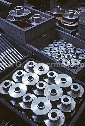 FInished steel parts, Gary Steel Works, US Steel Corporation, Gary, Indiana, 1966. Forty thousand different sizes and shapes of steel parts were turned out at a single plant. Photo by John G. Zimmerma.