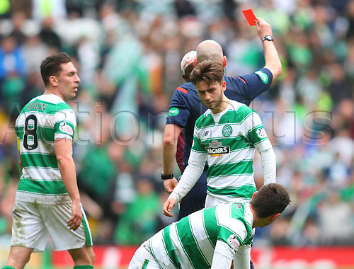 02.04.2016. Celtic Park, Glasgow, Scotland. Scottish Football Premiership Celtic versus Hearts. Juwon Oshaniwa is red carded at the end of the match for a tackle