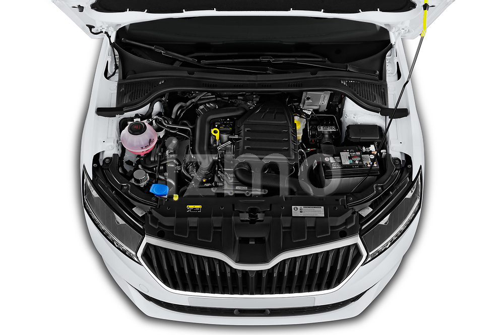 Car Stock 2019 Skoda Fabia-Combi Ambition 5 Door Wagon Engine  high angle detail view