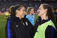 San Diego, CA - Sunday January 21, 2018: Alex Morgan, Andi Sullivan prior to an international friendly between the women's national teams of the United States (USA) and Denmark (DEN) at SDCCU Stadium.