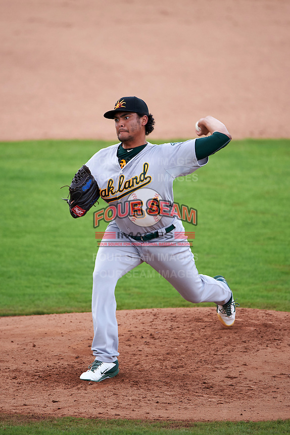 Mesa Solar Sox pitcher Sean Manaea (54) delivers a pitch during an Arizona Fall League game against the Peoria Javelinas on October 21, 2015 at Peoria Stadium in Peoria, Arizona.  Peoria defeated Mesa 5-3.  (Mike Janes/Four Seam Images)
