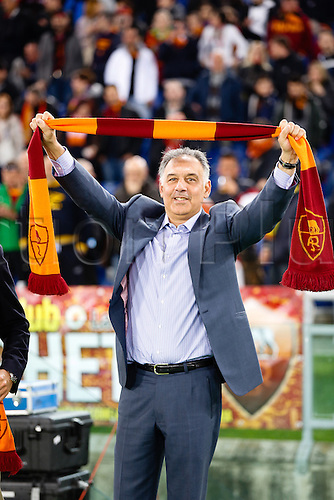 08.04.2013 Rome, Italy. James Pallotta in celebration action during the Serie A game between Roma and Lazio from The Olympic Stadium.