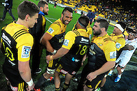 The Hurricanes celebrate winning the Super Rugby semifinal match between the Hurricanes and Chiefs at Westpac Stadium, Wellington, New Zealand on Saturday, 30 July 2016. Photo: Dave Lintott / lintottphoto.co.nz