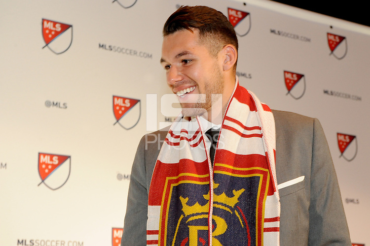 Philadelphia, PA - Thursday January 19, 2018: Ricky Lopez-Espin during the 2018 MLS SuperDraft at the Pennsylvania Convention Center.