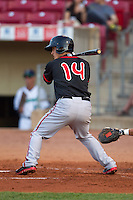 Lansing Lugnuts second baseman Christian Lopes #14 bats during a game against the Cedar Rapids Kernels at Veterans Memorial Stadium on April 29, 2013 in Cedar Rapids, Iowa. (Brace Hemmelgarn/Four Seam Images)