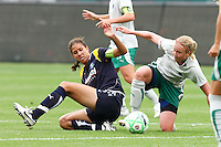 Shannon Boxx #7 of the Los Angeles Sol battles for control of a loose ball against Sara Larsson #4 of St. Louis Athletica during their WPS game at Home Depot Center on May 30, 2009 in Carson, California. LA Sol defeated  St. Louis Athletic 2-0.