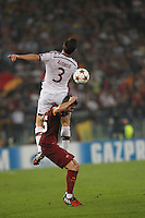 Bayer's Xabi Alonso and \ Roma's Miralem Pjanic during the Champions League Group E soccer match between As Roma and FC Bayern Munchen at the Olympic Stadium in Rome october 21 , 2014.