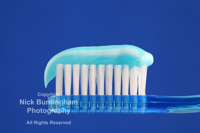 Blue Toothbrush with gel toothpaste