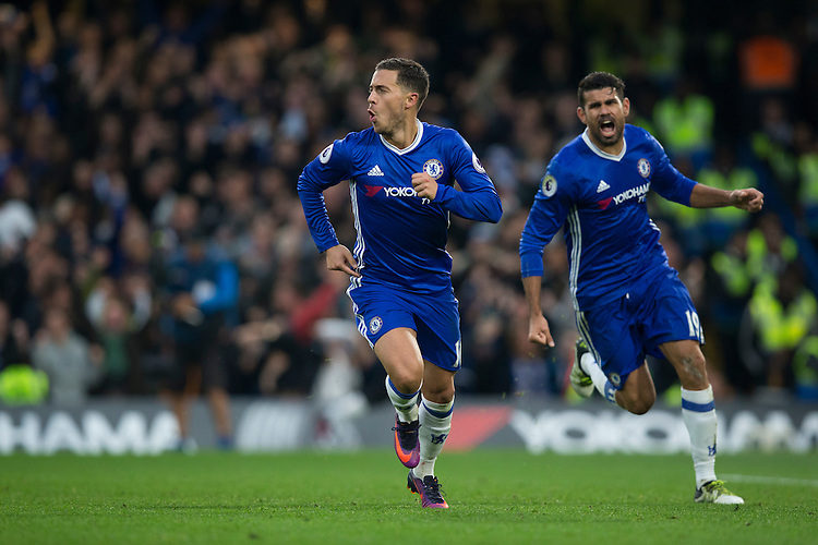 Chelsea's Eden Hazard celebrates scoring his sides third goal <br /> <br /> Photographer Craig Mercer/CameraSport<br /> <br /> The Premier League - Chelsea v Manchester United - Sunday 23rd October 2016 - Stamford Bridge - London<br /> <br /> World Copyright &copy; 2016 CameraSport. All rights reserved. 43 Linden Ave. Countesthorpe. Leicester. England. LE8 5PG - Tel: +44 (0) 116 277 4147 - admin@camerasport.com - www.camerasport.com