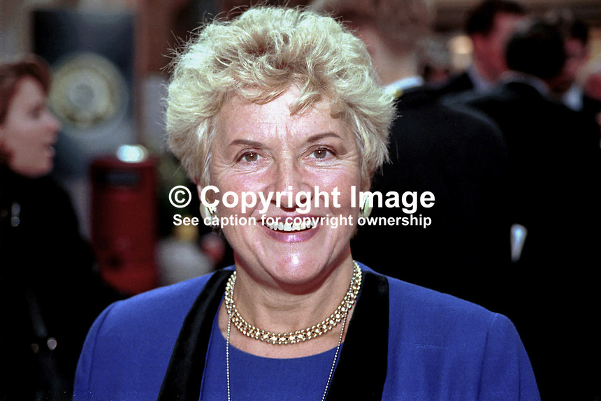 Teresa Gorman, MP, Conservative Party, Britain, UK, Ref:199710247. Taken at Conservative Conference in Winter Garden, Blackpool.<br /> <br /> Copyright Image from Victor Patterson,<br /> 54 Dorchester Park, <br /> Belfast, UK, BT9 6RJ<br /> <br /> t1: +44 28 9066 1296 (from Rep of Ireland 048 90661296)<br /> t2: +44 28 9002 2446 (from Rep of Ireland 048 9002 2446)<br /> <br /> m: +44 7802 353836<br /> <br /> e: victorpatterson@me.com<br /> www.victorpatterson.com<br /> <br /> Please see my Terms and Conditions of Use at www.victorpatterson.com. It is IMPORTANT that you familiarise yourself with them.<br /> <br /> Images used on the Internet must be visibly watermarked i.e. &copy; Victor Patterson<br /> within the body of the image and copyright metadata must not be deleted. Images <br /> used on the Internet have a size restriction of 4kbs and will be chargeable at current<br />  NUJ rates unless agreed otherwise.<br /> <br /> This image is only available for the use of the download recipient i.e. television station, newspaper, magazine, book publisher, etc, and must not be passed on to any third <br /> party. It is also downloaded on condition that each and every usage is notified within 7 days to victorpatterson@me.com<br /> <br /> The right of Victor Patterson to be identified as the author is asserted in accordance with The Copyright Designs And Patents Act (1988). All moral rights are asserted