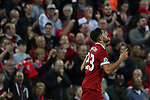 Emre Can of Liverpool celebrates scoring his second goal during the Champions League playoff round at the Anfield Stadium, Liverpool. Picture date 23rd August 2017. Picture credit should read: Lynne Cameron/Sportimage