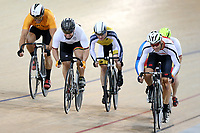 Andrew Weatherley (L) of Waikato BOP and Michael White of Southland compete in the Masters Men Cat 1 Keirin final at the Age Group Track National Championships, Avantidrome, Home of Cycling, Cambridge, New Zealand, Saturday, March 18, 2017. Mandatory Credit: © Dianne Manson/CyclingNZ  **NO ARCHIVING**