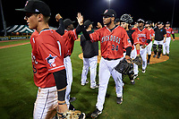 Batavia Muckdogs pitcher Geremy Galindez (34) celebrates with teammates after closing out a NY-Penn League game against the Lowell Spinners on July 11, 2019 at Dwyer Stadium in Batavia, New York.  Batavia defeated Lowell 5-2.  (Mike Janes/Four Seam Images)