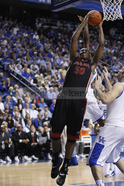 Georgia's Jeremy Price reaches to put in a layup during the second half of UK's home game against Georgia on Jan. 29, 2011. Photo by Brandon Goodwin | Staff