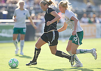Marisa Abegg (3) controls the ball, pursued by Amanda Cinalli. St. Louis Athletica defeated FC Gold Pride 1-0 at Buck Shaw Stadium in Santa Clara, California on July 5, 2009.