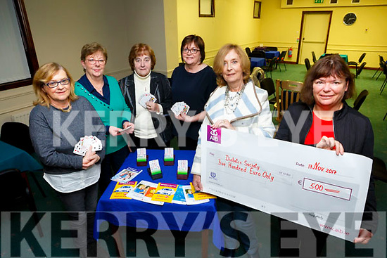 On diabetes World Day, 71 Bridge Club Tralee presented a  Cheque to the Kerry Diabetic Association Pictured front l-r Kay Lyons, President of the 71 Bridge Club Tralee presented a cheque for €500 to Helen Crowley, diabetes nurse specialist at University Hospital Kerry. Back l-r Nora O'Mahony, Phil Kelly, Mary Harty and Marie Nolan, diabetes nurse specialist at University Hospital Kerry