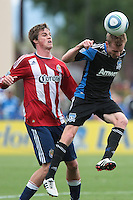 Christ Leitch (right) heads the ball. Chivas USA defeated the San Jose Earthquakes 2-1 at Buck Shaw Stadium in Santa Clara, California on April 23rd, 2011.