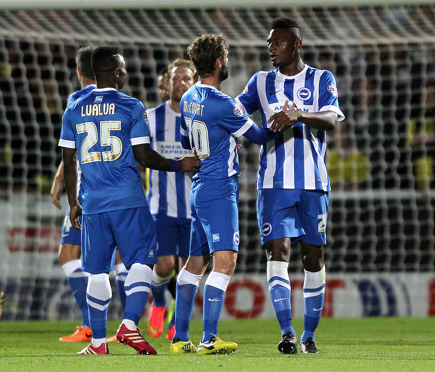 Brighton and Hove Albion's Rohan Ince celebrates scoring the first goal with his team mates<br /> <br /> Photo by Mick Walker/CameraSport<br /> <br /> Football - Capital One Cup Third Round - Burton Albion v Brighton and Hove Albion - Wednesday 24th September 2014 - Pirelli Stadium - Burton-upon-Trent<br />  <br /> &copy; CameraSport - 43 Linden Ave. Countesthorpe. Leicester. England. LE8 5PG - Tel: +44 (0) 116 277 4147 - admin@camerasport.com - www.camerasport.com