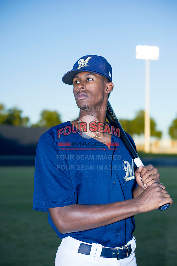 AZL Brewers Je'Von Ward (8) poses for a photo before a game against the AZL Cubs at Maryvale Baseball Park in Phoenix, Arizona. AZL Cubs defeated the AZL Brewers 9-1. (Zachary Lucy/Four Seam Images)
