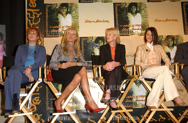 TRACY GRIFFITH (left), supermodel ESTHER CANADAS & actresses MELANIE GRIFFITH & PENELOPE CRUZ at press conference, in Beverly Hills, to launch the U.S. branch of the Sabera Foundation - a non-profit organization committed to changing the lives of street children in India. .For further info. check www.saberafoundation.org..10OCT2002..© Paul Smith / Featureflash