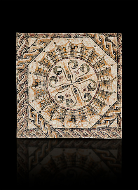 Pictures of a geometric Roman mosaic, from the ancient Roman city of Thysdrus. 3rd century AD. El Djem Archaeological Museum, El Djem, Tunisia. Against a black background
