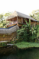 Restaurant and main building at the Reserva Ecologica de Nanciyaga,  an ecological reserve and ecolodge on Laguna Catemaco, Veracruz, Mexico