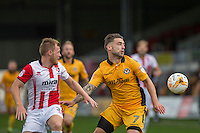 Jack Barthram of Cheltenham and Jack Compton of Newport County during the Sky Bet League 2 match between Newport County and Cheltenham Town at Rodney Parade, Newport, Wales on 10 September 2016. Photo by Mark  Hawkins / PRiME Media Images.