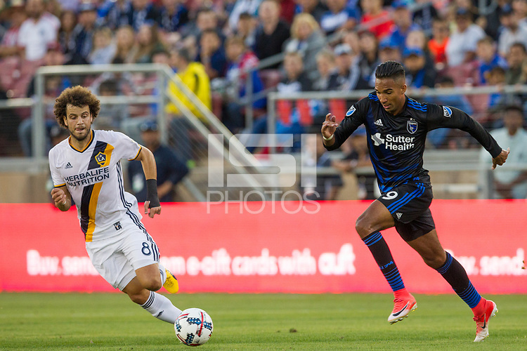 Palo Alto, CA - Saturday July 1, 2017: The San Jose Earthquakes beat the Los Angeles Galaxy 2-1 in a Major League Soccer (MLS) game at Stanford Stadium in Palo Alto.
