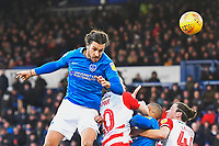 Christian Burgess of Portsmouth heads towards goal during Portsmouth vs Doncaster Rovers, Sky Bet EFL League 1 Football at Fratton Park on 2nd February 2019