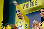 Race leader Julian Alaphilippe (FRA) Deceuninck-Quick Step loses time but retains the Yellow Jersey at the end of Stage 15 of the 2019 Tour de France running 185km from Limoux to Foix Prat d'Albis, France. 20th July 2019.<br /> Picture: ASO/Thomas Maheux | Cyclefile<br /> All photos usage must carry mandatory copyright credit (© Cyclefile | ASO/Thomas Maheux)