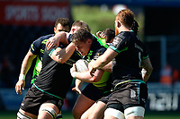 Leinster's Tadhg Furlong under pressure from Ospreys' Olly Cracknell and Scott Baldwin<br /> <br /> Photographer Simon King/CameraSport<br /> <br /> Guinness PRO12 Round 19 - Ospreys v Leinster Rugby - Saturday 8th April 2017 - Liberty Stadium - Swansea<br /> <br /> World Copyright &copy; 2017 CameraSport. All rights reserved. 43 Linden Ave. Countesthorpe. Leicester. England. LE8 5PG - Tel: +44 (0) 116 277 4147 - admin@camerasport.com - www.camerasport.com