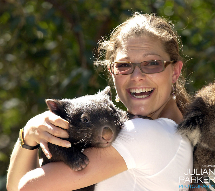 Crown Princess Victoria of Sweden visits the Healsville Wildlife Sanctuary, near Melbourne, where she met a koala & a wombat - during her visit taking part in 'Swedish Style in Australia'..